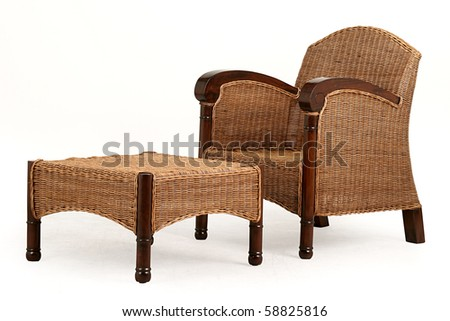 isolated  chair and desk made from straw; living room furniture - stock photo