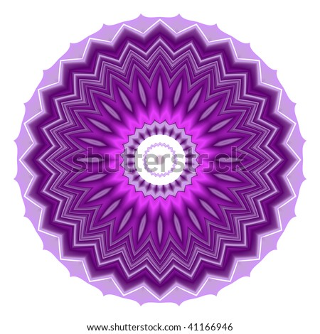 isolated chakra mandala in bright purple and pink - stock photo