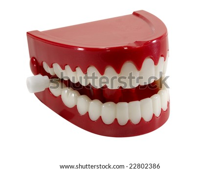 Isolated Chattering Teeth - Clipping Path Included - stock photo