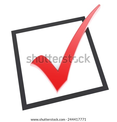 Isolated checkbox with red check mark. 3d image - stock photo