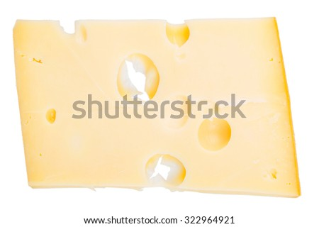 Isolated cheese chunk - stock photo