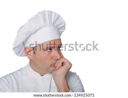 Isolated chef on white background thinks to an excellent recipe