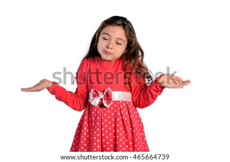 isolated child girl confused on white background