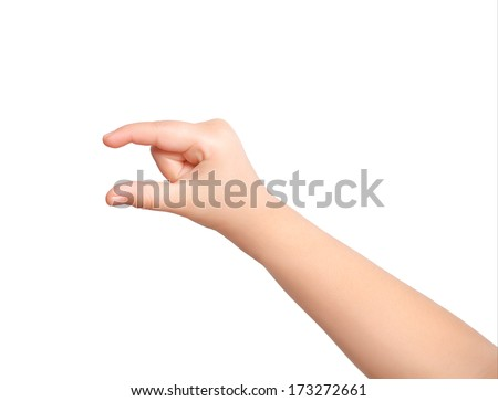 isolated child hand holding an object - stock photo