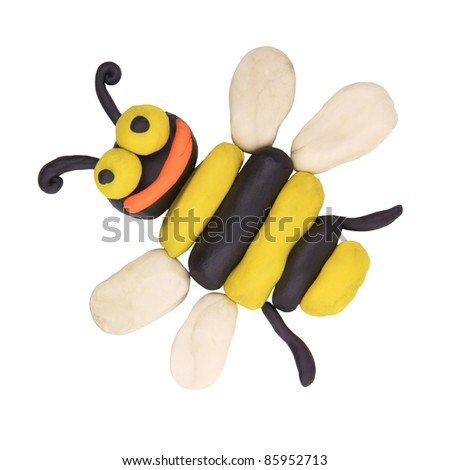 isolated child hand made bee on the white - stock photo