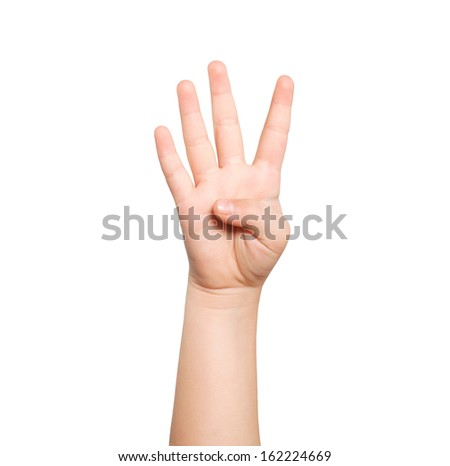 isolated child hand shows the number four - stock photo