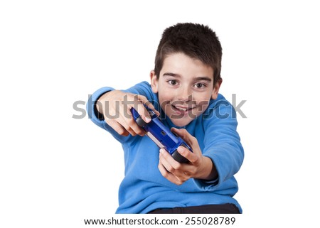 isolated child playing video games - stock photo