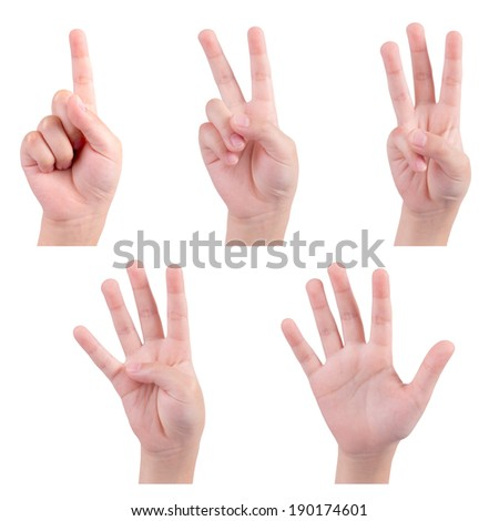 isolated children hands show the number one two three four five - stock photo