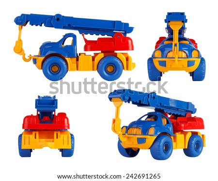 isolated children toy car crane. different angles - stock photo