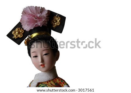 Isolated China Doll with Room for Text