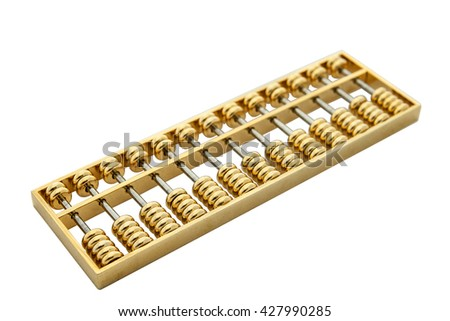 isolated Chinese golden abacus - stock photo