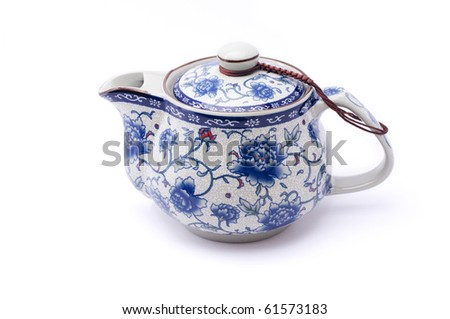 Isolated Chinese teapot with lid