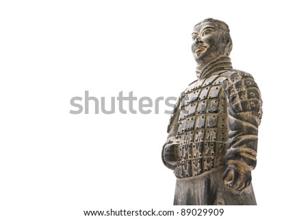 Isolated Chinese terracotta warrior against white background