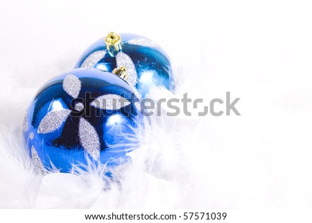 Isolated Christmas Background - Ornaments with white space - stock photo
