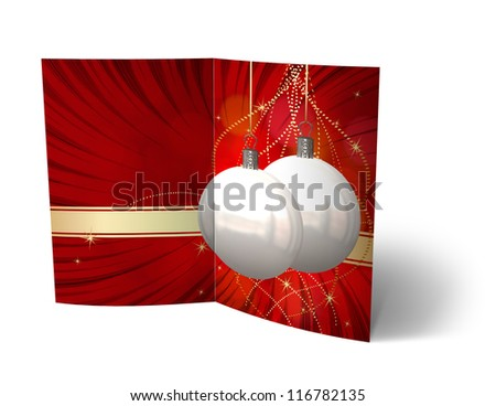 isolated Christmas Balls brochure, Card Illustration - stock photo