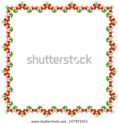 Isolated Christmas Frame on White Background, Raster Version