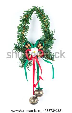 isolated Christmas garland on white background - stock photo