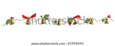 Isolated Christmas garland with bells, buttons and red ribbons - stock photo
