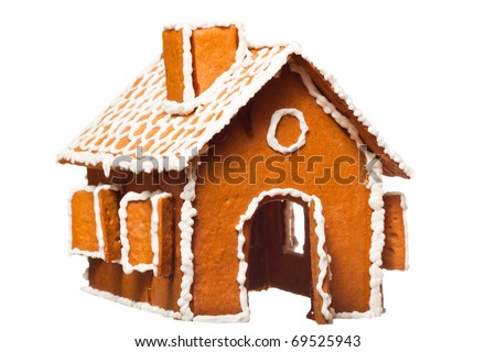 Isolated christmas gingernut house - stock photo
