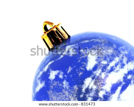 isolated christmas ornament of the world - stock photo