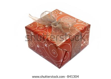 Isolated Christmas Present - stock photo