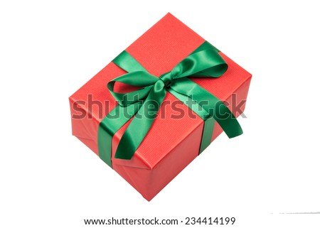 isolated christmas present in red