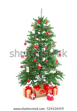 Isolated Christmas tree on white