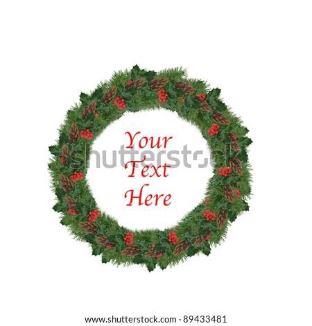 Isolated Christmas Wreath - stock photo