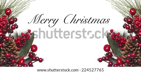 Isolated Christmas wreath with text  - stock photo