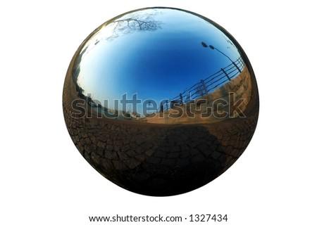 isolated chrome ball - stock photo