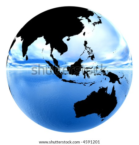 isolated chrome earth reflecting sky & water