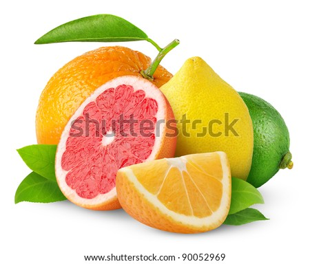Isolated citrus fruits. Orange, grapefruit, lemon and lime isolated on white background