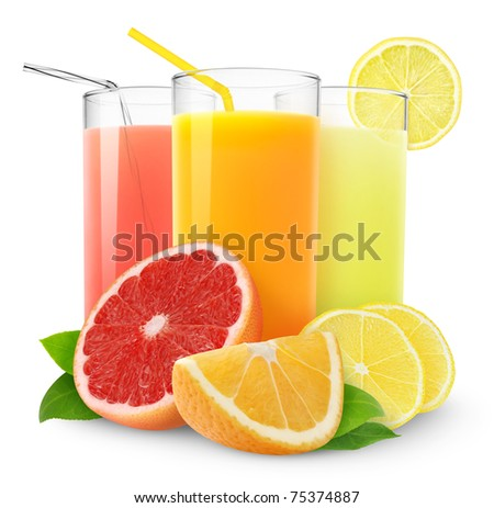 Isolated citrus juice. Three glasses with orange, grapefruit and lemon juice and cut fruits isolated on white background