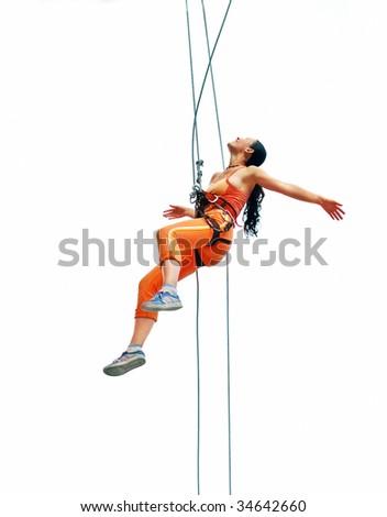 Isolated climber-girl - stock photo