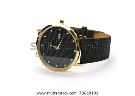 isolated clock on a white background - stock photo