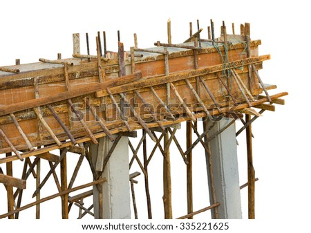 Isolated close-concrete bridge construction using wooden planks placed a temporary framework. - stock photo