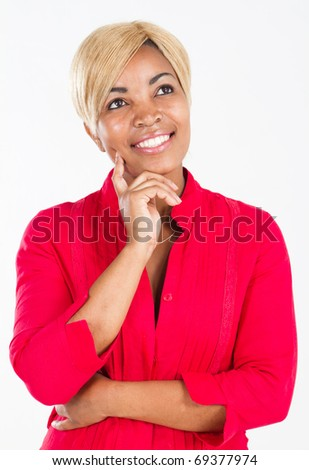 Isolated close-up portrait of a beautiful African woman - stock photo