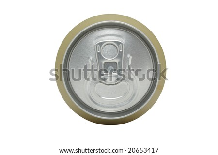 Isolated close-up shot of the top of a canned drink
