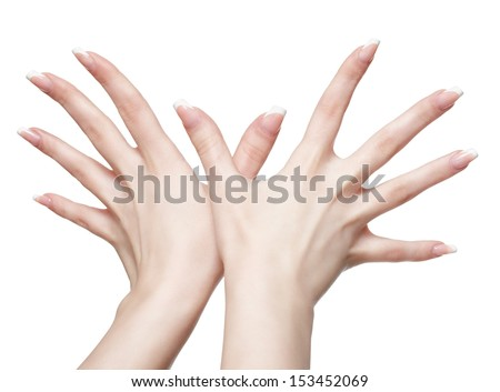 isolated close up shot of young woman's healthy hands with manicure - stock photo