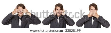 Isolated close up studio shot of a businessman in the See No Evil, Hear No Evil Speak No Evil poses. - stock photo
