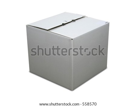 Isolated closed cardboard box with clipping path - stock photo
