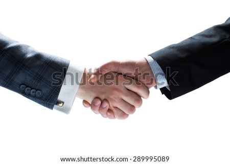 Isolated closeup image on white background. Businessmen holding hands in handshake.