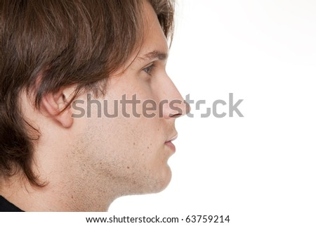 Isolated closeup studio shot of a businessman facing sideways and looking away. - stock photo