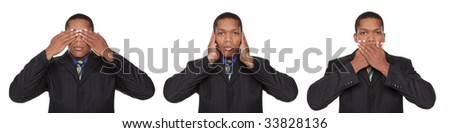 Isolated closeup studio shot of a businessman in the See No Evil, Hear No Evil, Speak No Evil pose. - stock photo