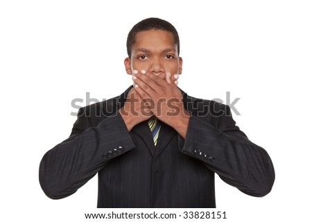 Isolated closeup studio shot of a businessman in the Speak No Evil pose. - stock photo