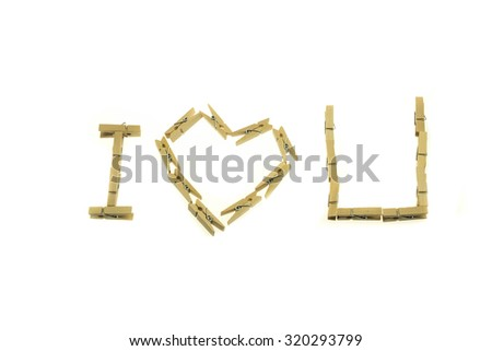 Isolated clothespin in I love you sentences for valentine - stock photo