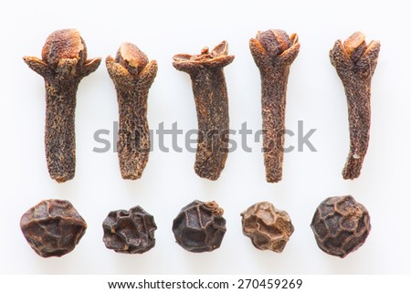 Isolated cloves and black peppers still life - stock photo