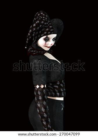 isolated clown in a black background with sad expression - stock photo