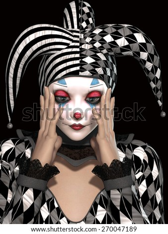 isolated clown in black background whit sad expression - stock photo