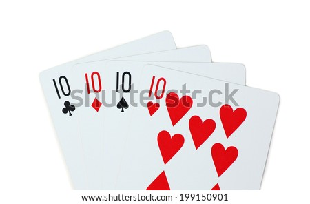 isolated clubs diamonds spades hearts 10 - stock photo